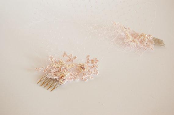 Свадьба - Light pink Veil and Lace Bridal Fascinator, Vintage Style Bandeau Birdcage Wedding Veil