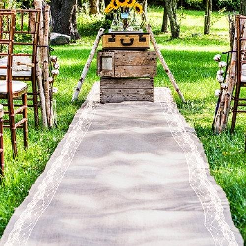 burlap aisle runner 40wide x choose your length lace trim rustic wedding vintage wedding fall wedding country wedding aisle runner