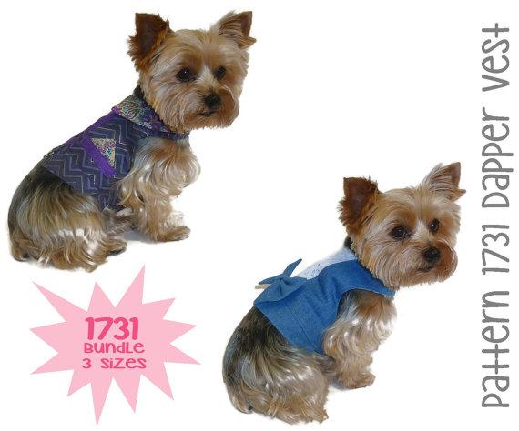 Свадьба - Dapper Dog Vest Pattern 1731 * Bundle 3 Sizes * Dog Clothes Sewing Pattern * Dog Harness Vest * Dog Wedding Attire * Dog Vest Pattern