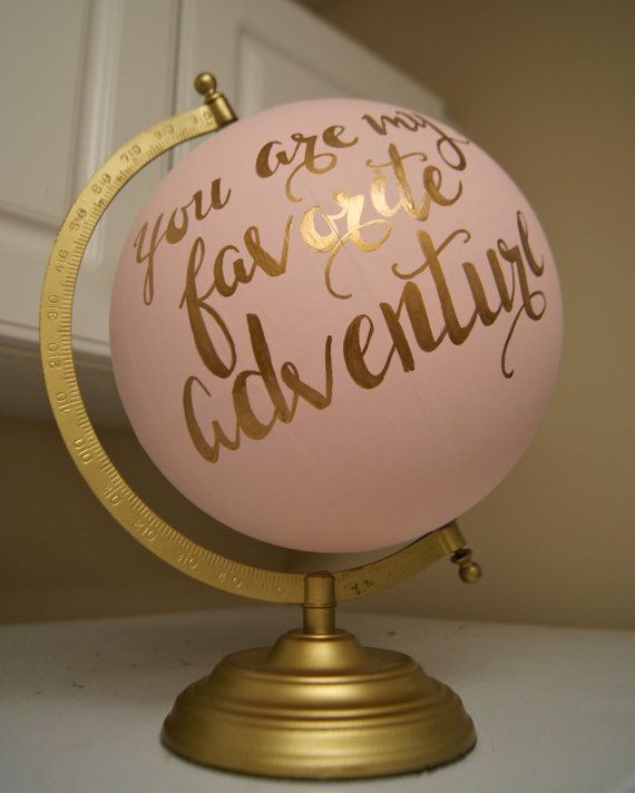 """Wedding - Hand Painted 12"""" Wedding Globe, Shabby Chic, Gold Hand Lettering -- Custom Made To Order"""