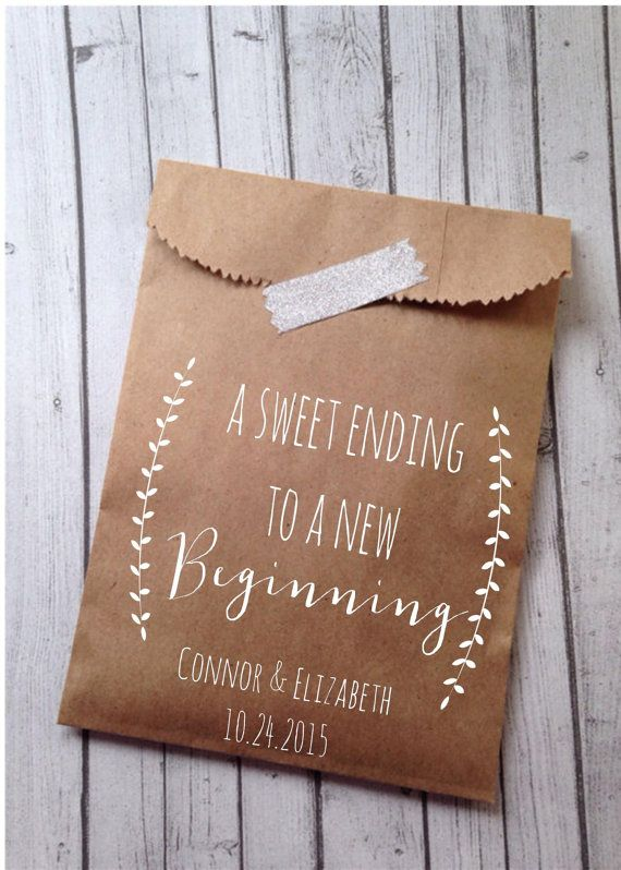 Wedding Gift Bag Sayings : Wedding Cookie Bags, Laurel Rustic Candy Buffet Sacks, Custom Wedding ...