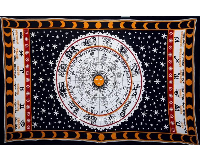 Wedding - White Zodiac Horoscope Indian Tapestry