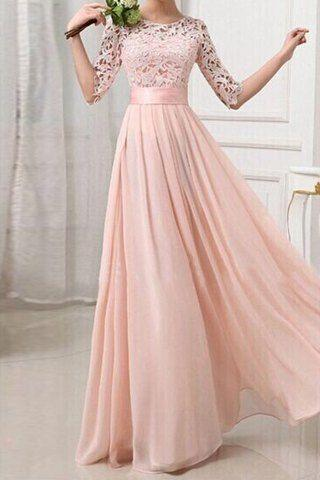 Long Blush Lace Bridesmaid Dresses - Wedding Dress Ideas