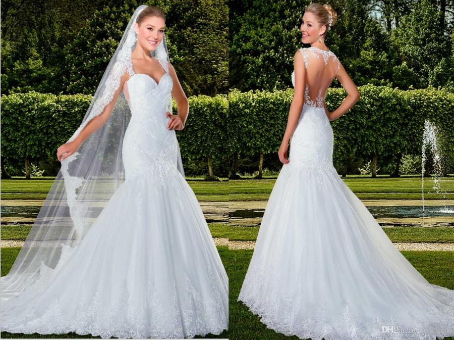 New Arrival Spaghetti Sheer Back Mermaid Wedding Dresses Layers ...