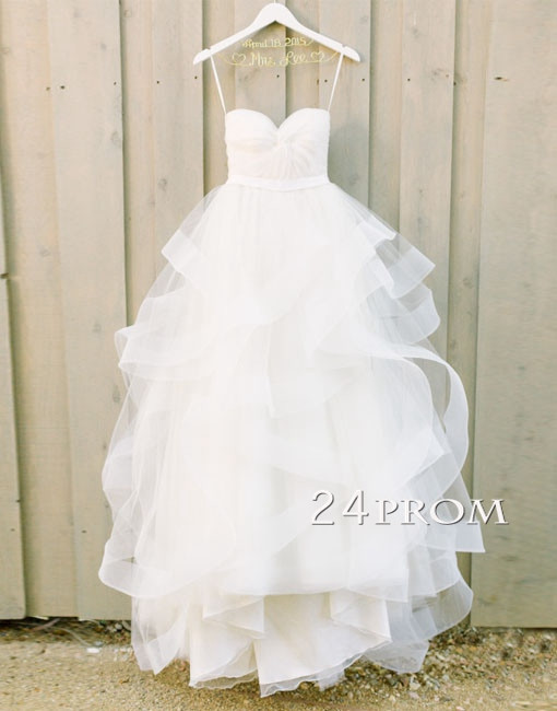 Hochzeit - White Sweetheart Tulle Long Wedding Gown,Bridal Dress - 24prom