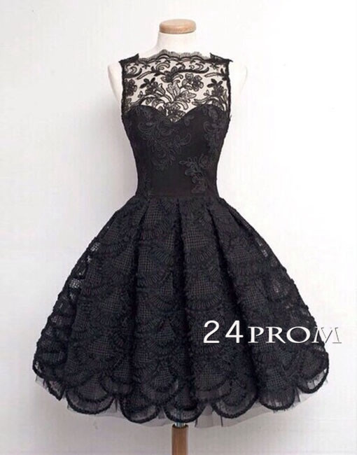 Hochzeit - Black A-line Lace Short Prom Dress, Homecoming Dresses - 24prom