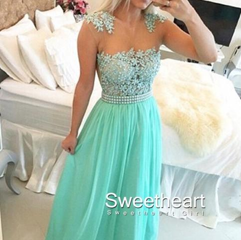 Свадьба - Green A-line round neckline Lace Chiffon Long Prom Dresses, Formal Dress from Sweetheart Girl