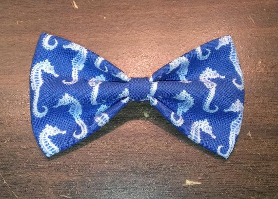 Свадьба - Blue Seahorse Bow Tie, Hair Clip, Headband or Pet Bow Tie
