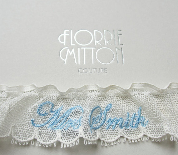 Mariage - Love Letter personalised name embroidered tulle lace garter ivory and blue something blue