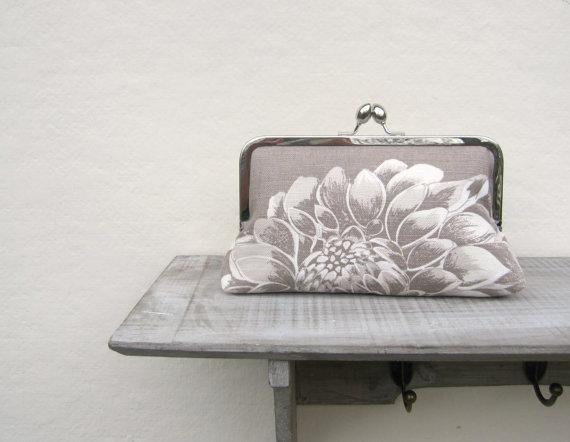 Hochzeit - Bridal clutch bag, grey floral wedding clutch bag, bridesmaids clutch bag, evening clutch bag, clutch purse, bridesmaid gift, wedding purse