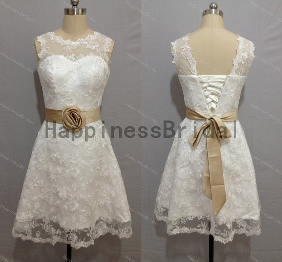 Mariage - lace formal dress,short prom dress ,lace prom dress with sash,short evening dress,hot sales dress,formal evening dress,new arrival dresses