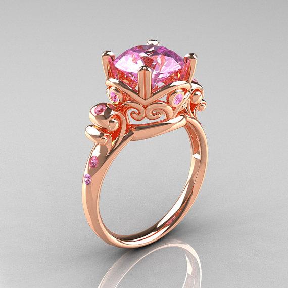 Modern Vintage 10K Rose Gold 25 Ct Light Pink Sapphire Wedding