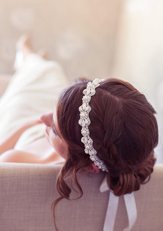 Hochzeit - White Modern Headband, White Crystal Bridal Headband, Tie-on Crystal Headpiece, White Wedding Hair Accessories, Bridal Hair Piece, Halo
