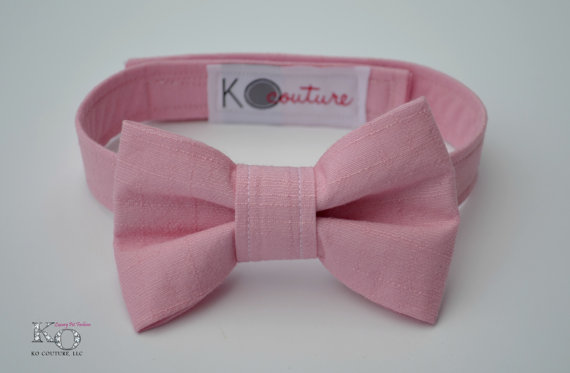 Свадьба - Dog Bow Tie in Pink Linen