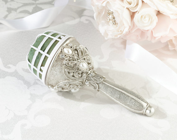 Mariage - Bridal Bouquet Holder Crystals with Pearl Accents Vintage Inspired Regal Elegance Ready to ship within one week