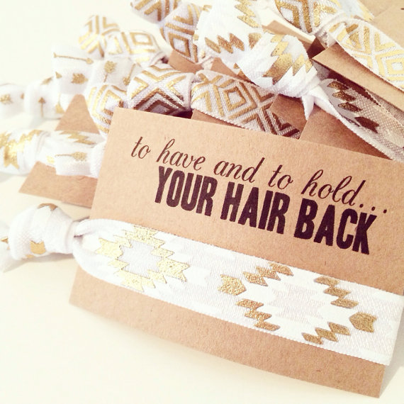 Свадьба - Hair Tie Bridal Shower Favor // White + Gold Aztec Hair Tie Bracelets, White Gold Hair Tie Bracelet Favor, Custom Wedding Shower Favor