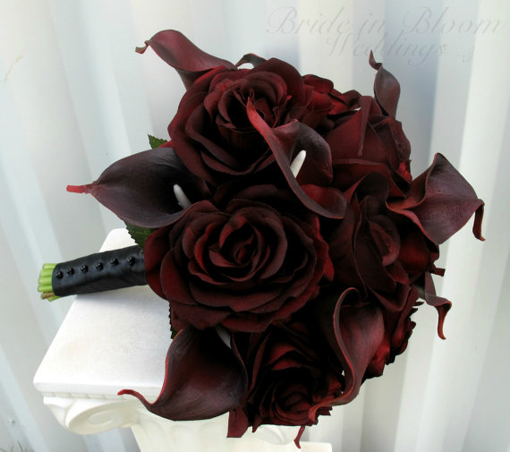 Mariage - Wedding Bouquet real touch majestic red calla lily black baccara rose bridal bouquet
