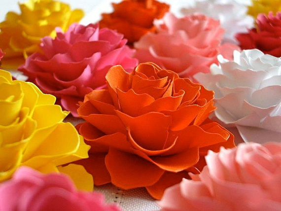 Mariage - The Rosetta Paper Flowers - ASSORTED COLORS - Pack of 50 - Made To Order