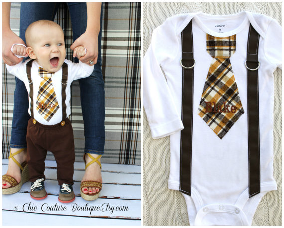 Mariage - Baby Boy Personalized Tie and Suspenders Bodysuit. Birthday Outfit Cake Smash  Winter Wedding Ring Bearer Suspender Fall Thanksgiving Plaid