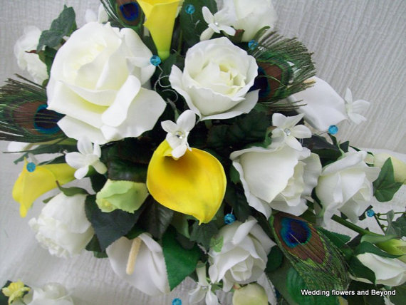 Mariage - CUSTOM made to order YeLLoW and TeaL 2 Piece Flower Package CaSCaDe BouQueT aND GRooMS Boutonniere Peacock wedding ReaL TouCH  CaLa LiLyS