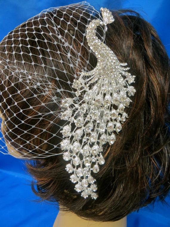 Свадьба - Bandeau Birdcage Veil, Wedding Blusher Veil, Rhinestone Peacock Blusher