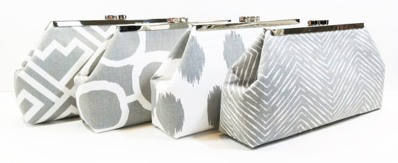 Свадьба - Grey Bridesmaid Clutches Wedding Party Clutch Bag - Choose Your Fabric Gray Set of 4