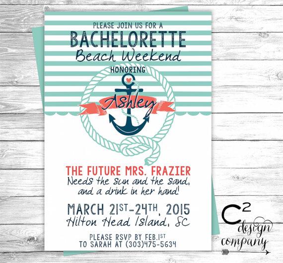 Wedding - Mint & Coral Nautical Bachelorette Beach Weekend Invitation