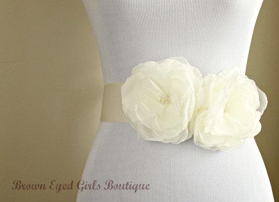 Wedding - Ivory Bridal Sash, Ivory Wedding Sash, Ivory Wedding Belt - Ivory Chiffon Flowers with Ivory Bridal Ribbon