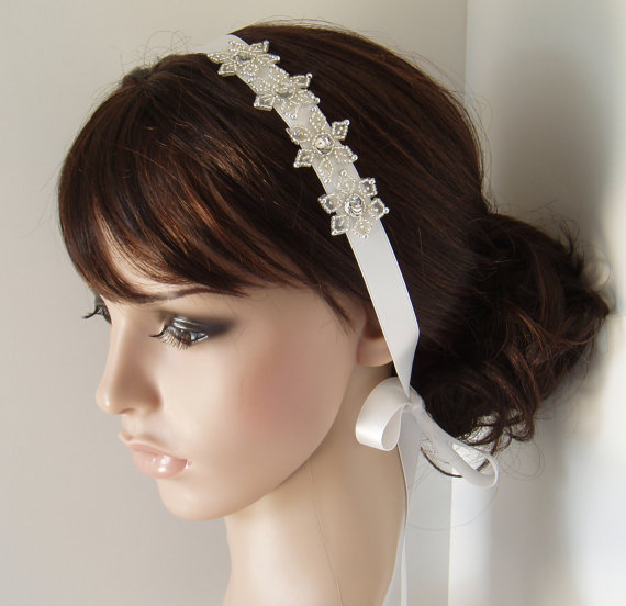 Snowflake Wedding Headband Bridal head band winter Headbands Hair Piece  White Ribbon beaded Hairband Hairpiece READY TO SHIP 21c882be638