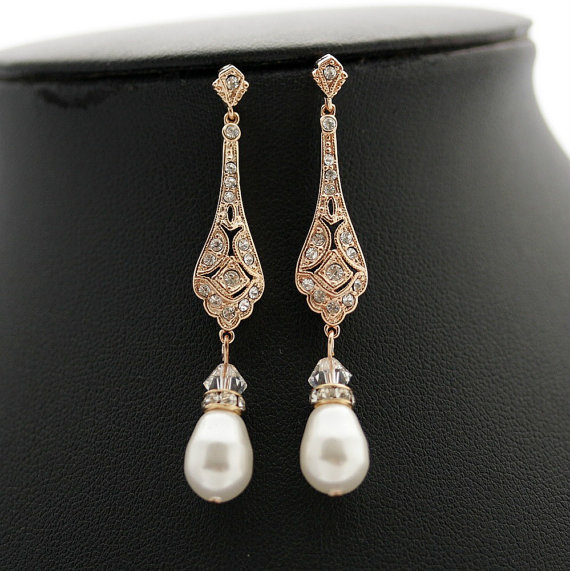 Pearl Wedding Earrings Rose Gold Vintage Style Bridal Jewelry Cubic Zirconia Long