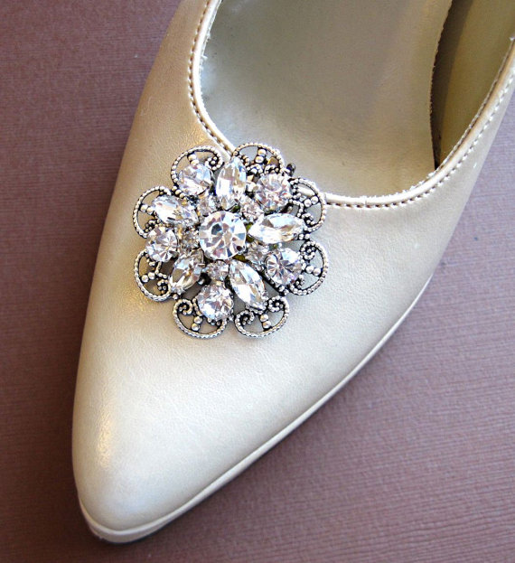 """Свадьба - Large Shoe Clips, Crystal Rhinestone,Fancy shoe clips, Crystal Flower, Bridal Shoe clips """"Crystal Bouquet"""""""