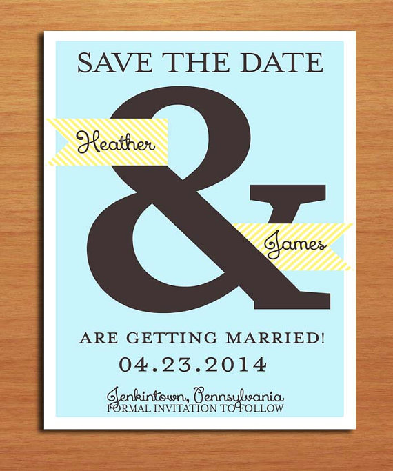 زفاف - Blue and Yellow Ampersand Wedding Save the Date PRINTABLE / DIY