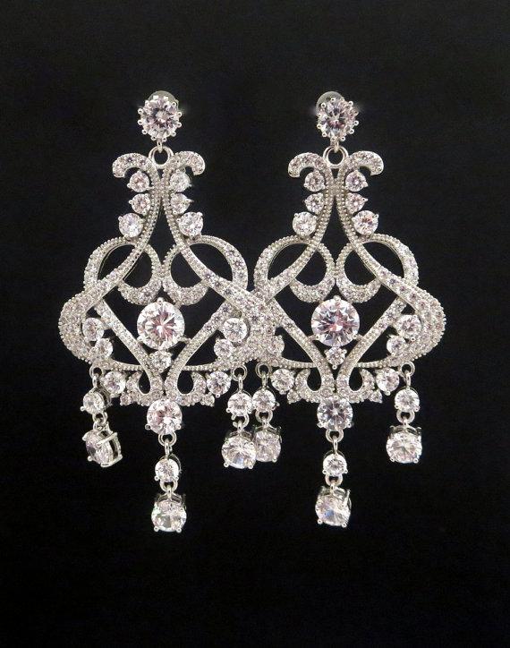 زفاف - Chandelier Wedding earrings, Crystal Bridal earrings, Art Deco Earrings, Wedding jewelry, CZ earrings, Rose Gold earrings, Crystal earrings