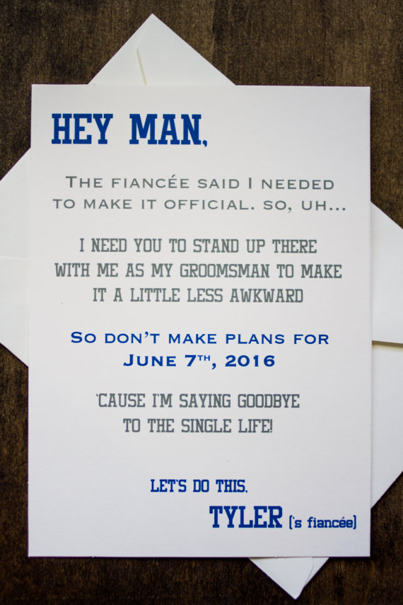 Wedding - Groomsman Wedding Invite Card - Will you be my Groomsman? Funny