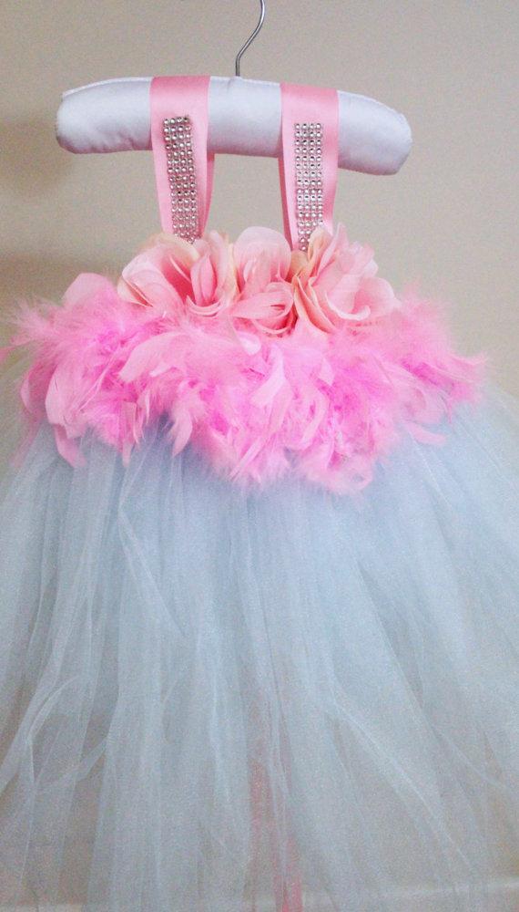 Blue And Pink Feather Dress Blue Tutu Dress Flower Girl