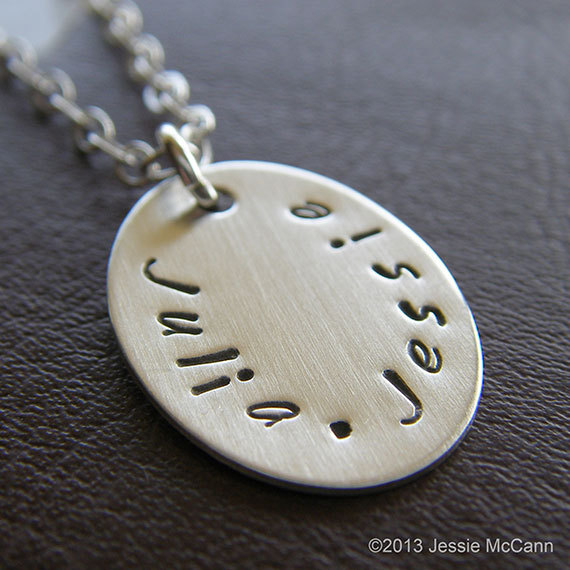 Mariage - Custom Necklace - Personalized Sterling Silver Hand Stamped Charm Jewelry - Petite Oval Necklace