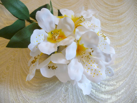Vintage millinery white silk flower spray rhododendron blossom vintage millinery white silk flower spray rhododendron blossom branch nos for weddings bridal bouquets hats head bands crafts mightylinksfo
