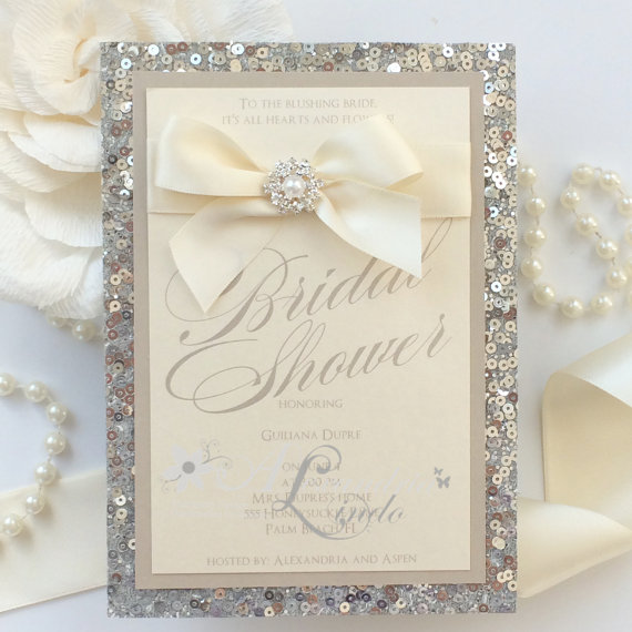 Wedding - Silver sequins, NUDE, pearls and bling bridal shower invitation