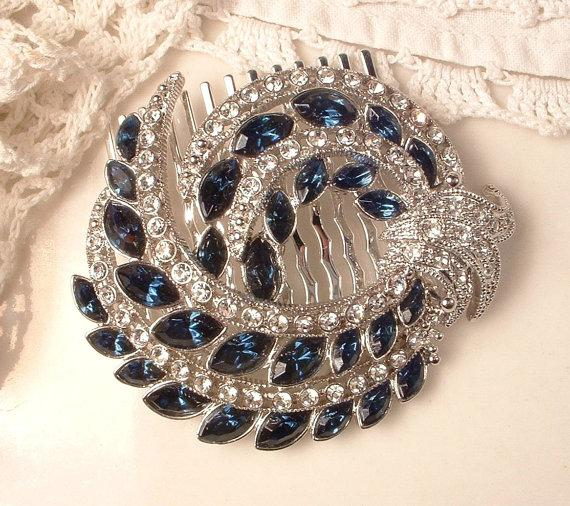 Свадьба - Sapphire Bridal Hair Comb 1920s Art Deco Navy Blue Rhinestone Vintage Silver Pave Crystal Brooch to Headpiece Great GATSBY Wedding Accessory