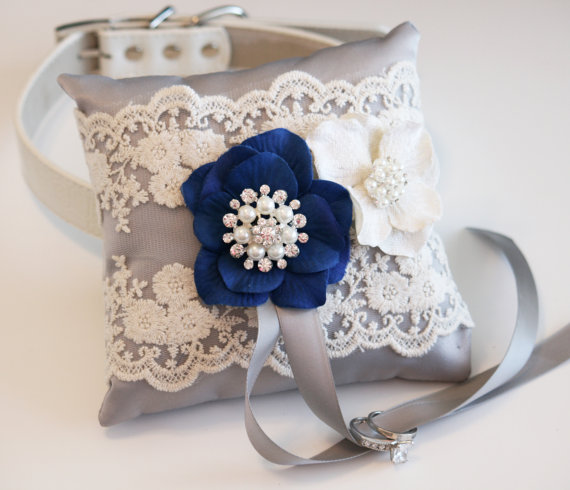 Hochzeit - Gray & Royal Blue wedding accessory, Victorian Ring Pillow, Ring Pillow attach to dog Collar, Ring Bearer Pillow, Pet wedding accessory