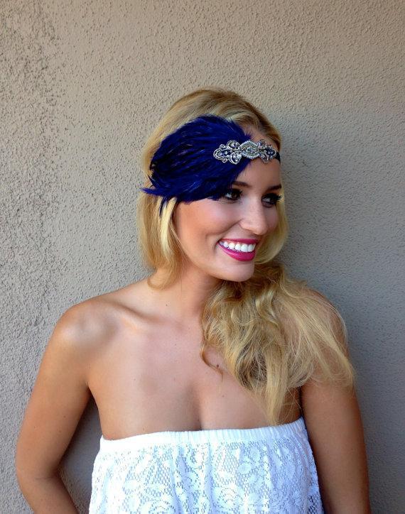 Свадьба - Bridesmaid Headband,1920s Wedding, Black OR Beige Feather 1920s headband for 1920s dress, blue headband