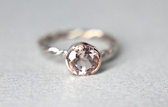 زفاف - 10% Off COUPON - Morganite Solitaire - Hand Twisted 14K Rose & White Gold w/ Half Bezel Set Morganite Gemstone -  Lovely Engagement Ring!