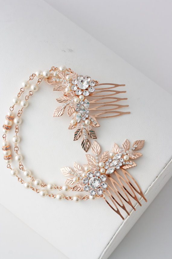 Rose Gold Hair Chain Wedding Headpiece Pearl Draped Bridal Hair Comb