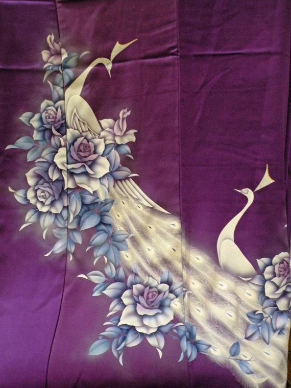 Wedding - Silk Kimono Peacock Shawl/Wrap/Scarf/Shrug..Florals..Purple/Blue/Ivory..Long Island Bride/Bridal/Wedding Gift..Clutch to match