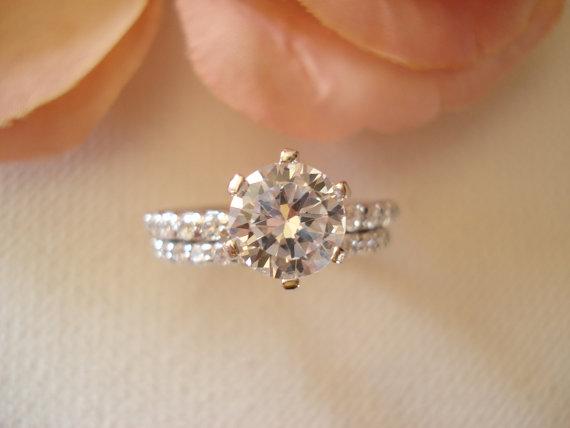 زفاف - Wedding ring set...Round CZ Diamond Ring set in sterling silver, 1.5 carat, Engagement ring, promise ring