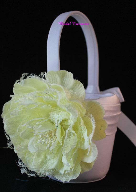 زفاف - White Satin Flower Girl Basket with Pale Yellow Shabby Chic Flower
