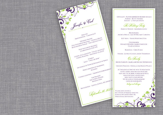 Mariage - DiY Wedding Program - DOWNLOAD Instantly - EDITABLE TEXT - Chic Bouquet (Eggplant & Lime) - Tea-Length (4 x 9.25)  Microsoft® Word Format