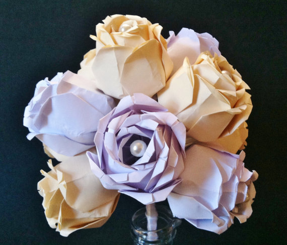 "Wedding - Dozen Paper Roses- ""David Angelo"" inspired, handmade, first anniversary gift, paper flowers, wedding bouquet, perfect for her"