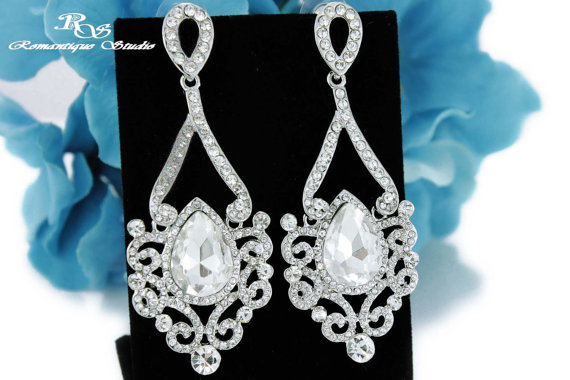 زفاف - Statement wedding earrings crystal bridal earrings wedding jewelry bridal jewelry art deco wedding accessories vintage earrings - 1258