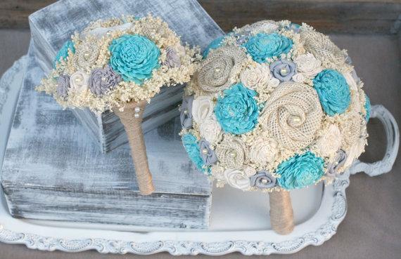 Small Turquoise Aqua Cream Soft Grey Bouquet Bridesmaid Sola Wood Baby S Breath Fabric Flowers Burlap Rosettes